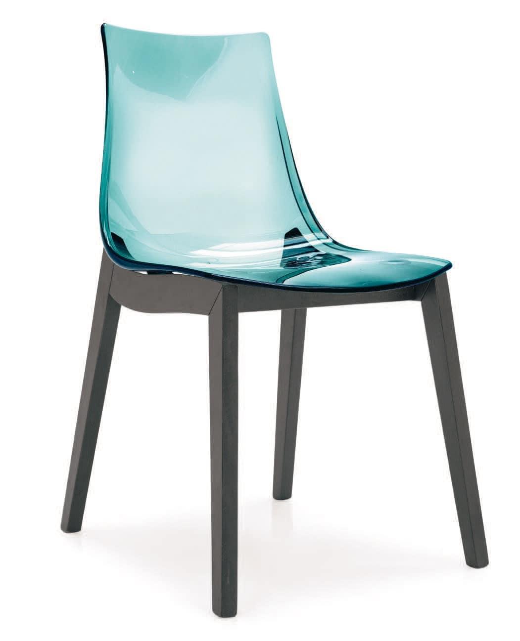 Sedia in policarbonato con gambe in faggio idfdesign for Sedie plastica moderne