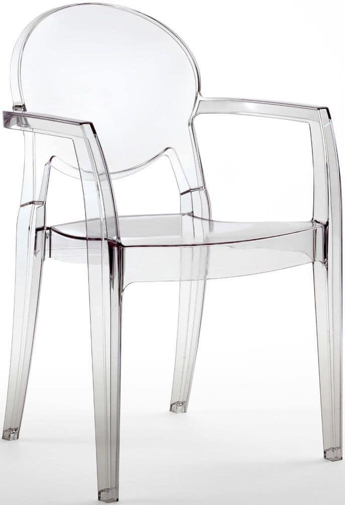 Sedia tutta in policarbonato per pizzerie e bar idfdesign for Sedie plastica moderne