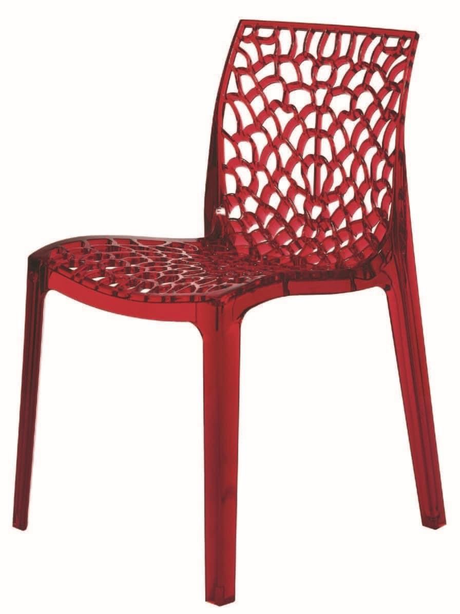 SE 6316.TR, Sedia in plastica perforata trasparente per esterni