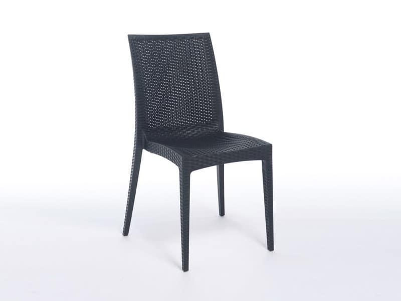 SE 6380, Sedia leggera in plastica, con finto intreccio, per bar