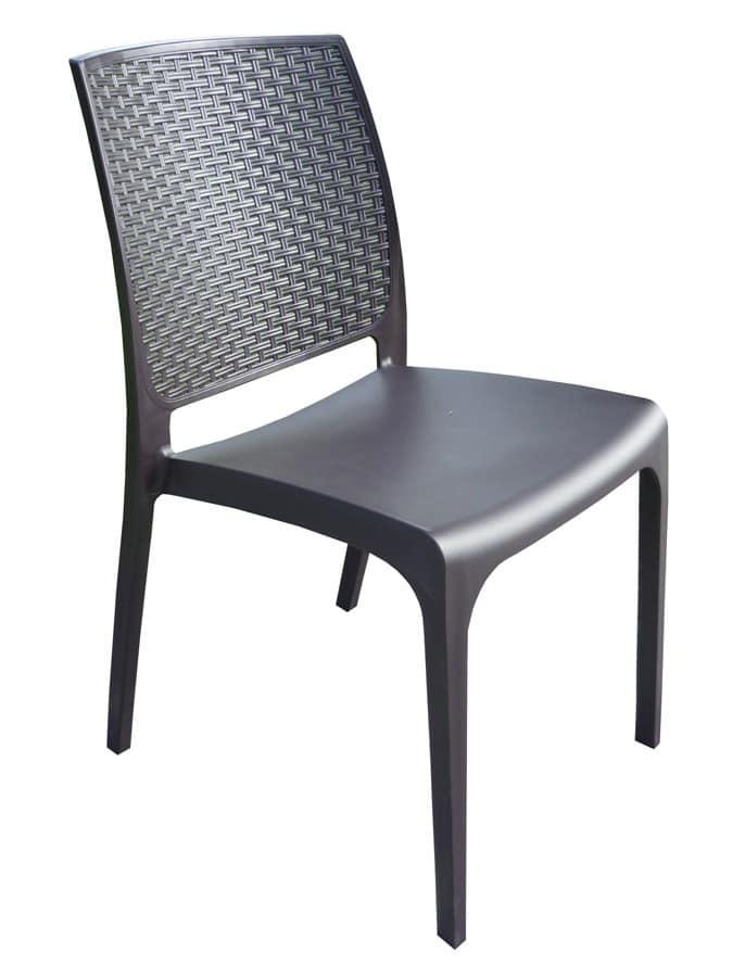 sedia da bar in polyrattan impilabile per esterni