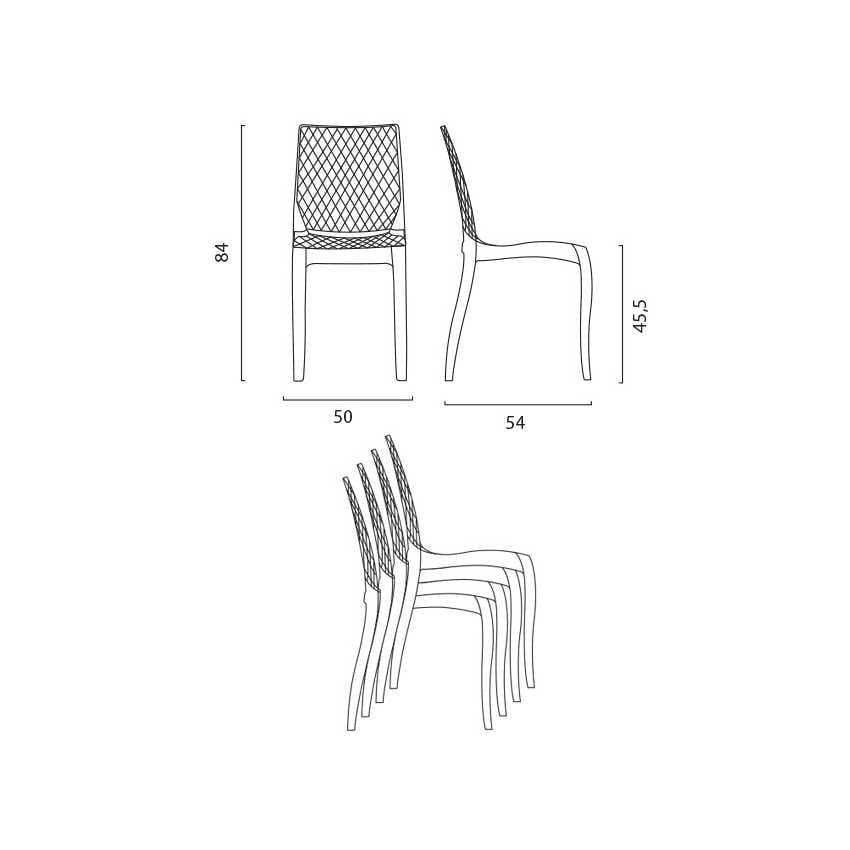 Sedia interno design trasparente Hypnotic - S6319TR, Sedia in policarbonato trasparente, per esterni
