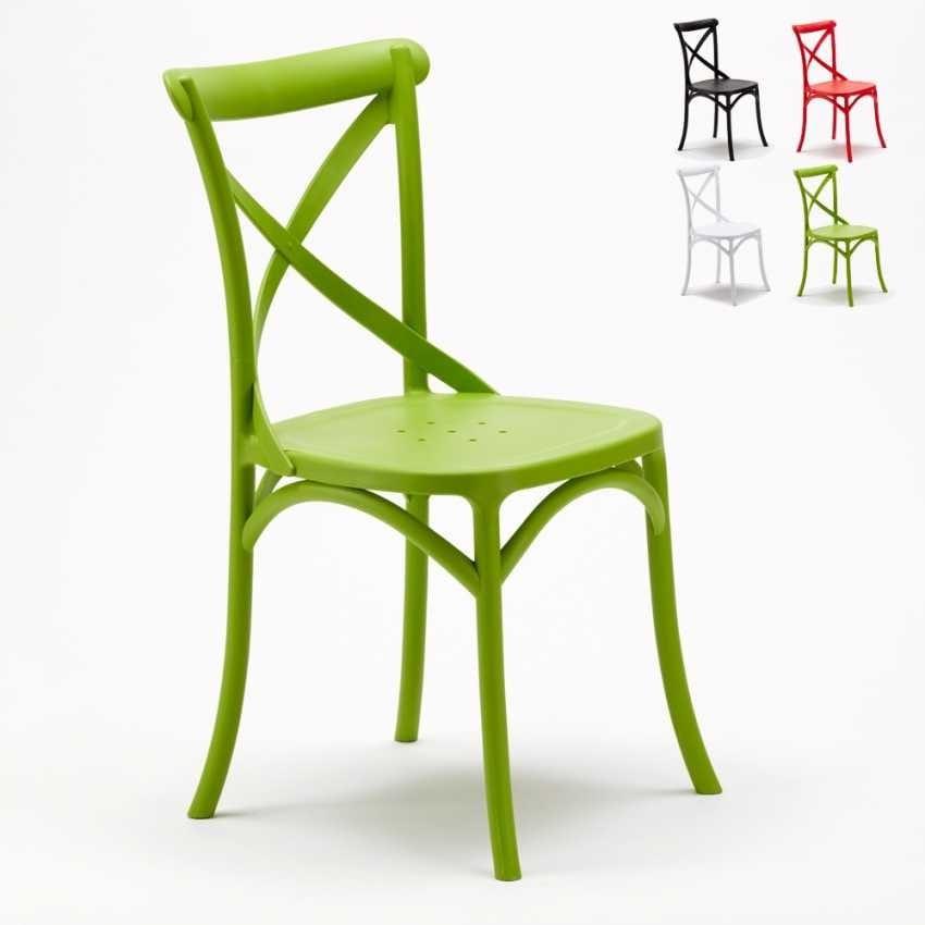 Sedie In Polipropilene Colorate.Sedia Con Schienale A Croce Idfdesign