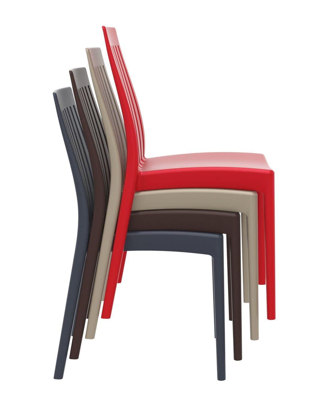 Sedia in polipropilene per interni ed esterni impilabile for Sedie plastica moderne