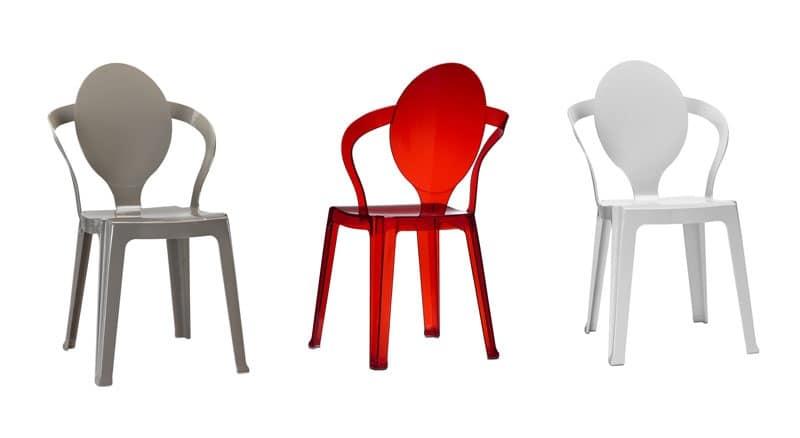 Sedia in plastica con schienale ovale impilabile idfdesign - Sedie plastica design ...