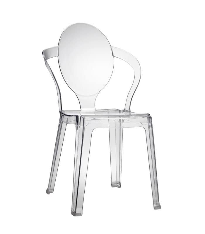 Spoon, Sedia in plastica con schienale ovale, impilabile