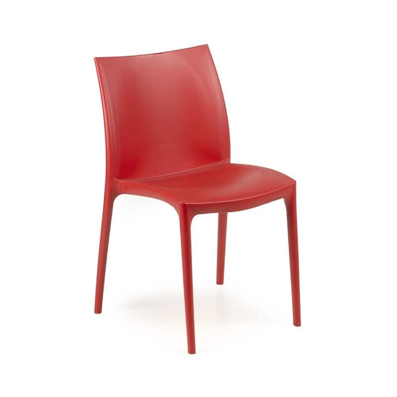 Zip, Sedia con sedile e schienale in plastica, impilabile