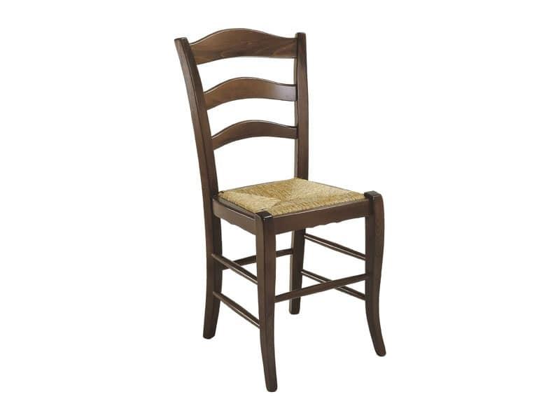 105, Sedia rustica con seduta in paglia, per uso residenziale