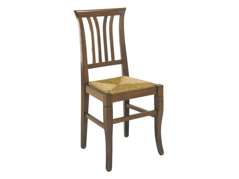107, Sedia rustica con motivo verticale, seduta in paglia