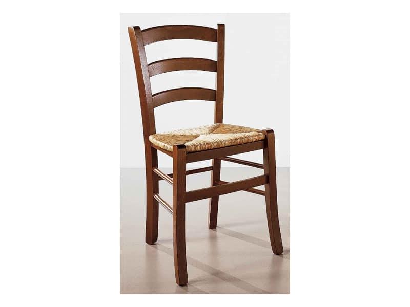 110, Sedia in legno massello, semplice, per osteria e bar