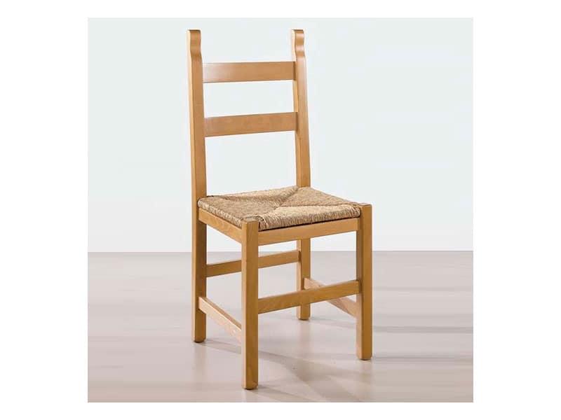 Sedia in legno massello, seduta in paglia, per trattoria ...