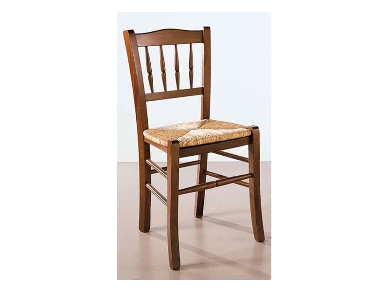 122, Sedia in legno e paglia, schienale lavorato, per bar