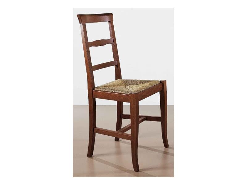 138, Sedia solida in stile rustico, semplice e comoda, per bar