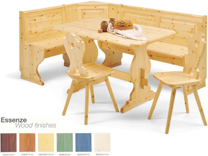 Panca ad angolo in legno stile rustico per ristorante for Cuscini per panca ad angolo