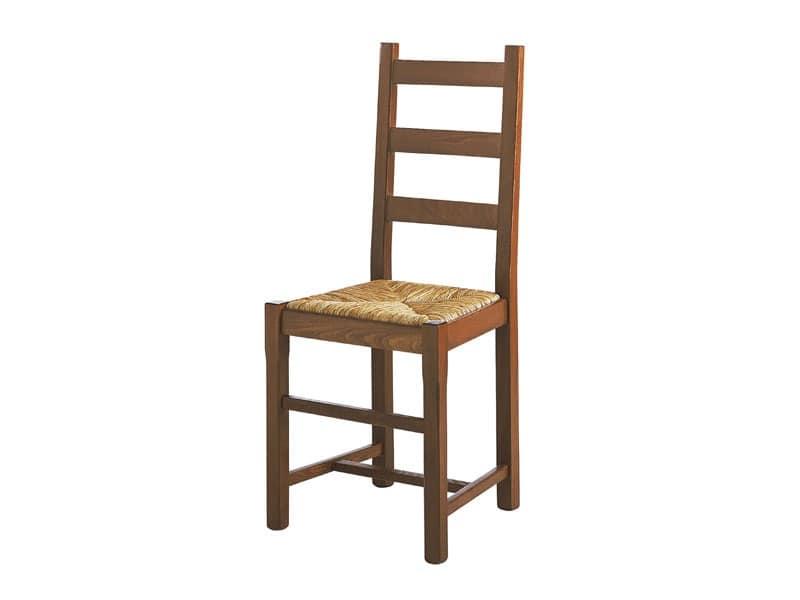 334, Sedia semplice in legno massiccio, seduta in paglia