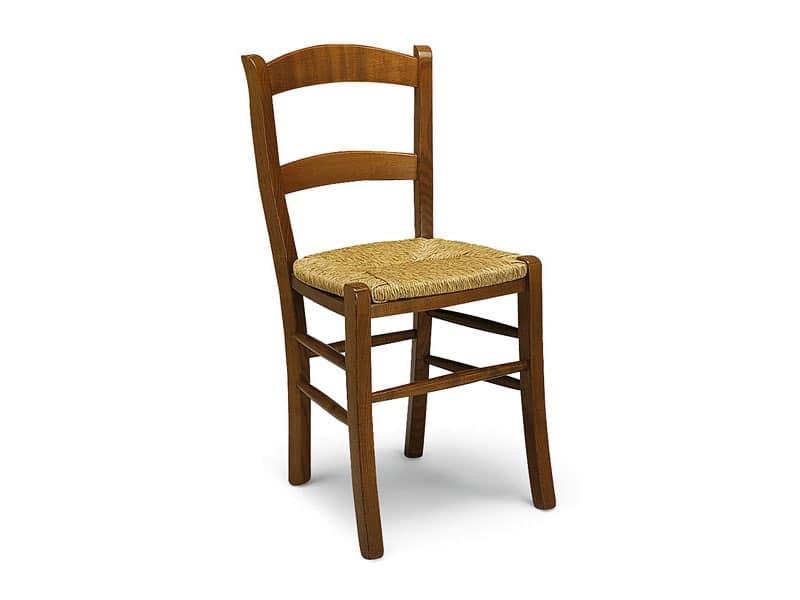 800, Sedia in legno con seduta in paglia, stile rustico