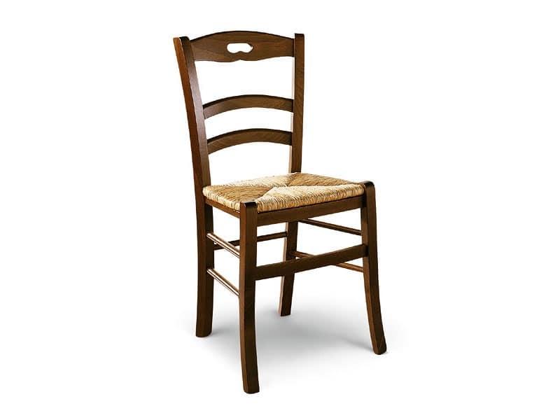 807, Sedia in legno con seduta in paglia, stile rustico