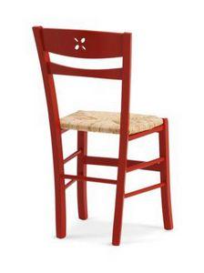 811 P, Sedia rustica con seduta in paglia, con poggiapiedi