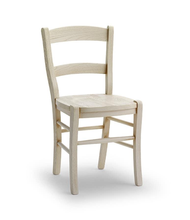 DAMA, Robusta sedia in legno massello di frassino