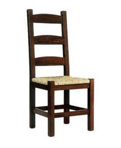 Friulana, Sedia rustica in legno con sedile in paglia, per osterie