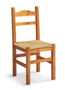 Mabel, Sedia rustica in legno, seduta in paglia intrecciata