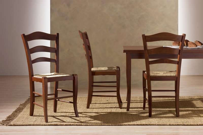 Sedia rustica in legno, seduta in paglia, per Cucina | IDFdesign