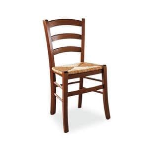 Veneta sedia, Sedia rustica in legno, seduta in paglia di riso, per cantina