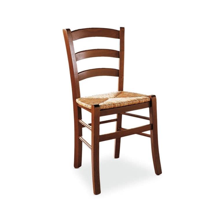 sedia rustica in legno seduta in paglia di riso per