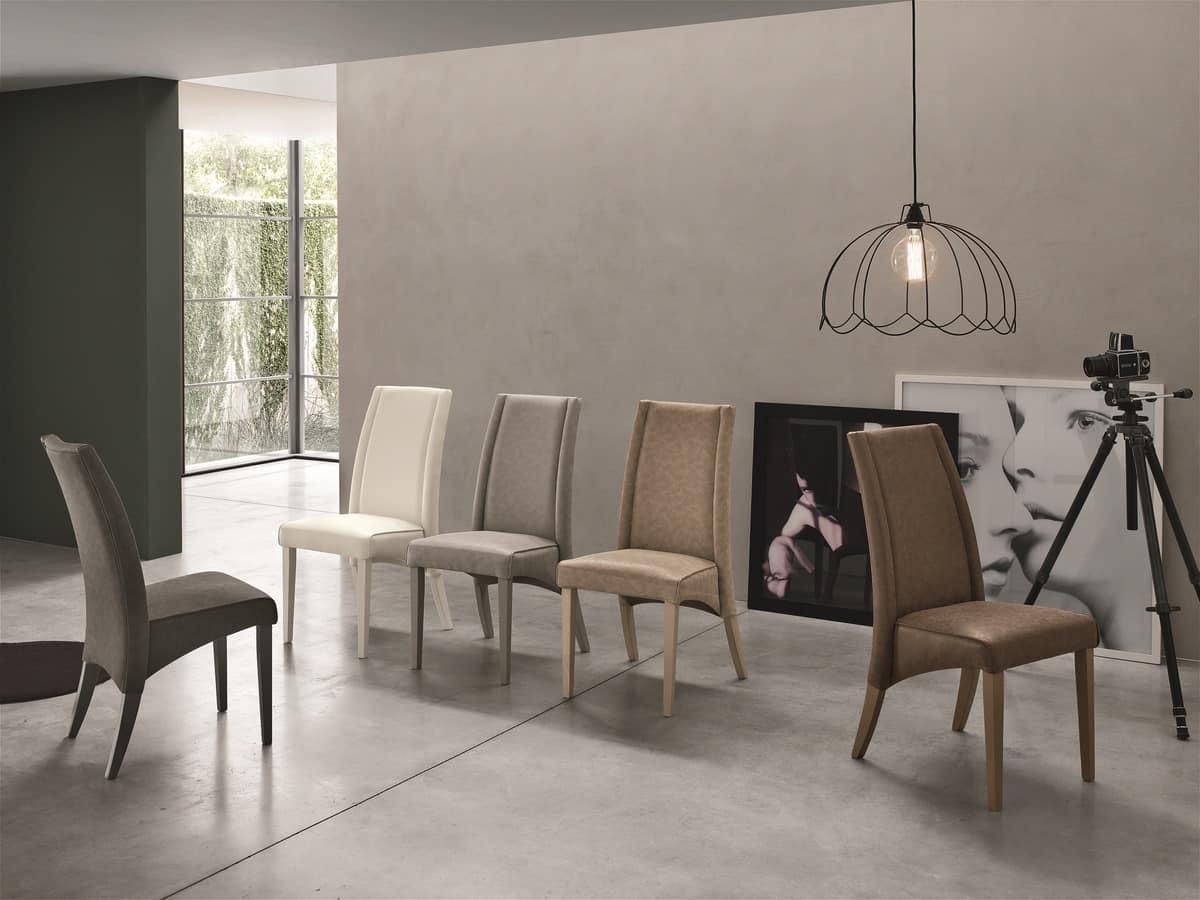 Sedia in legno con schienale alto rivestita in soft touch idfdesign