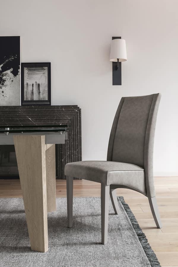 Sedia in legno con schienale alto, rivestita in soft touch | IDFdesign