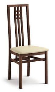 DANTE, Sedia con seduta imbottita, schienale alto, per sala da pranzo