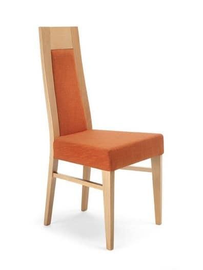 Sedia in legno con schienale alto imbottita per cucina for Sedia design schienale alto