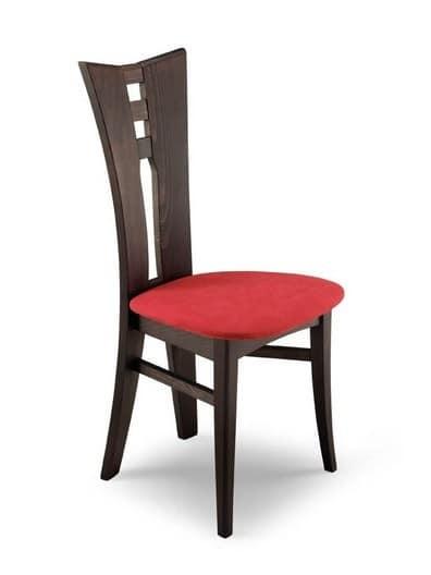 Sedia moderna in legno con schienale forato per cucina for Sedie legno cucina