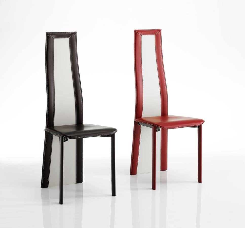 Sedia in cuoio con schienale bicolore adatta per - Schienale sedia ...