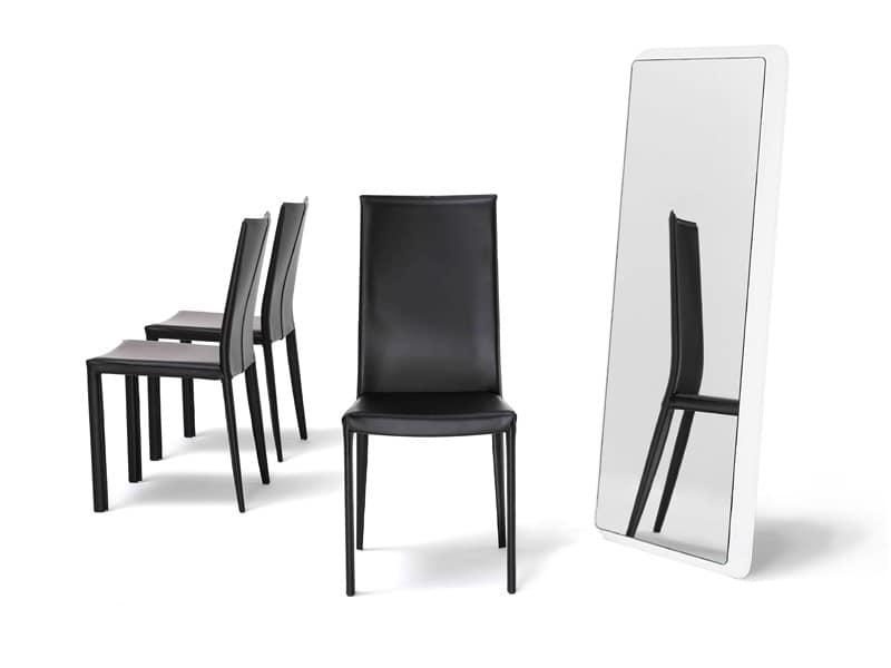 Sedie Schienale Alto Ecopelle : Sedia con schienale alto gamba retro conica per albergo idfdesign