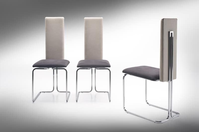 Sedia con schienale alto in acciaio e pelle idfdesign