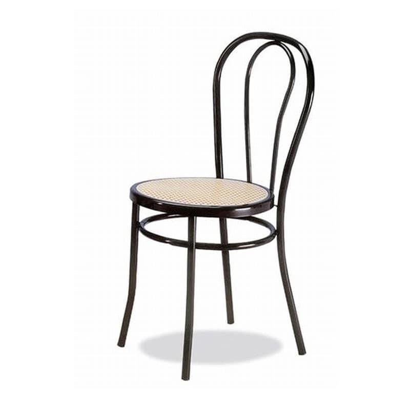 002, Sedia in metallo curvato, seduta in paglia di Vienna