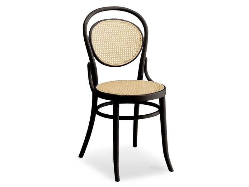 050, Sedia in legno con seduta e schienale in canna