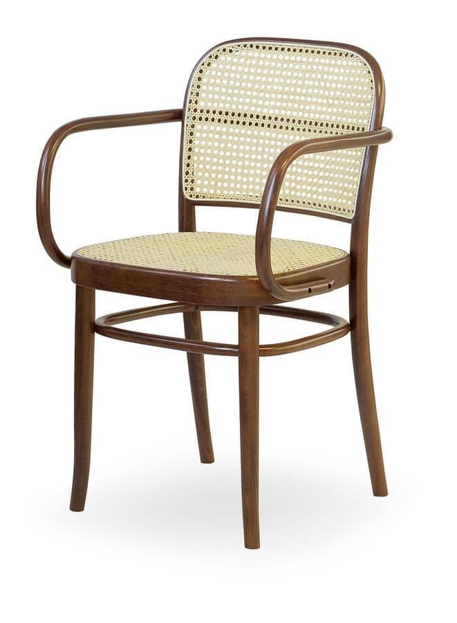 06/CB, Sedia in legno con seduta e schienale in canna, per bar