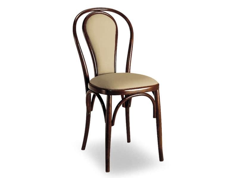 108, Sedia in legno con schienale imbottito ovale