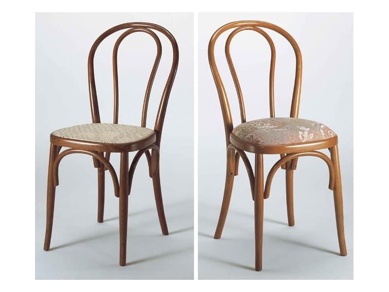 129, Sedia con schienale in legno curvato, varie finiture