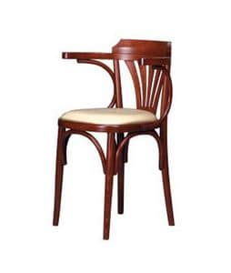 130, Sedia con braccioli, in faggio curvo, seduta imbottita