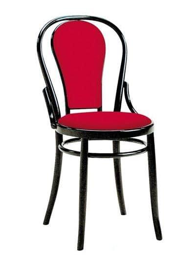 Sedia viennese in legno con seduta e schienale imbottiti for Sedie design 900