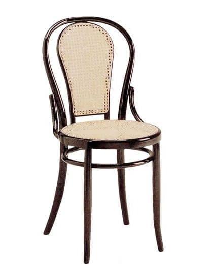 sedia viennese in legno con sedile e schienale in paglia