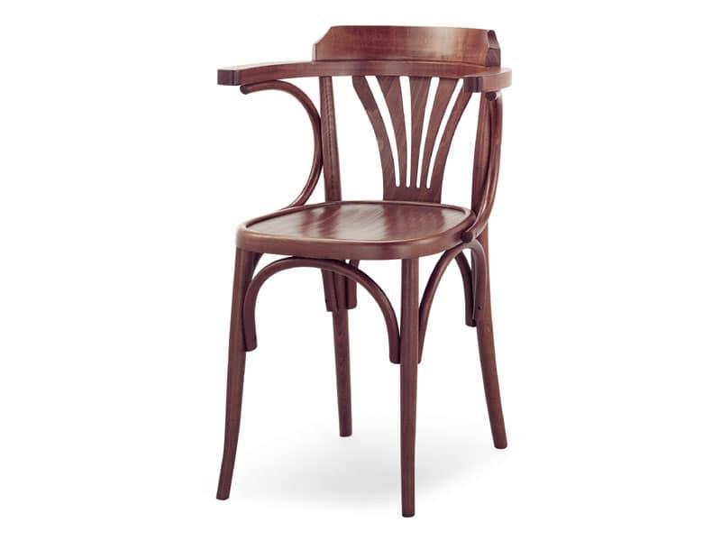 600, Sedia con braccioli in legno, stile viennese