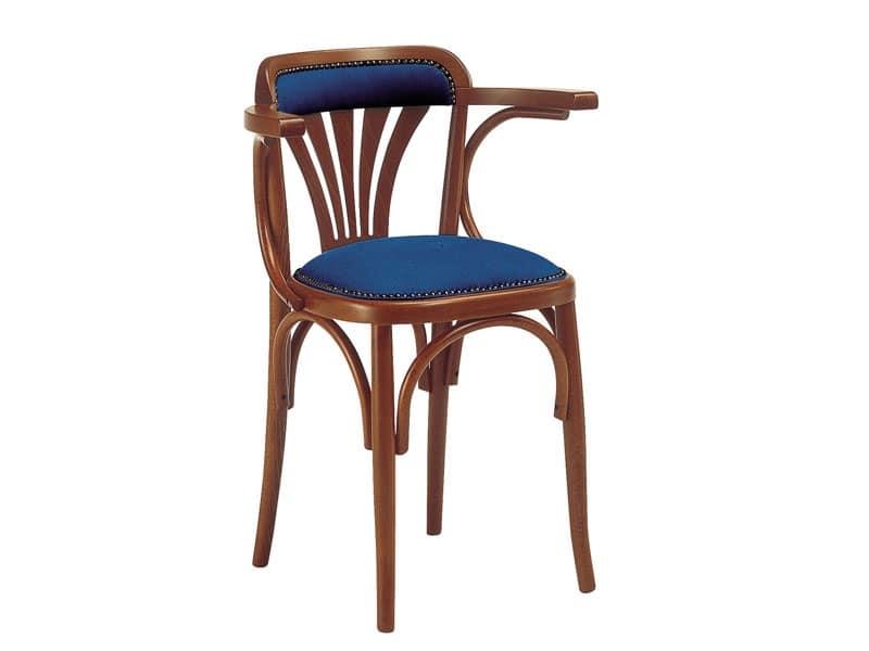 620, Sedia in legno con seduta imbottita, per bar e pub