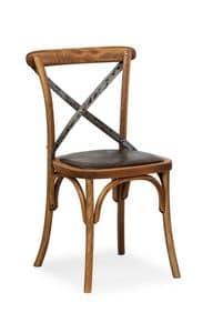Ciao Iron, Sedia in legno massello di faggio, seduta in ecopelle
