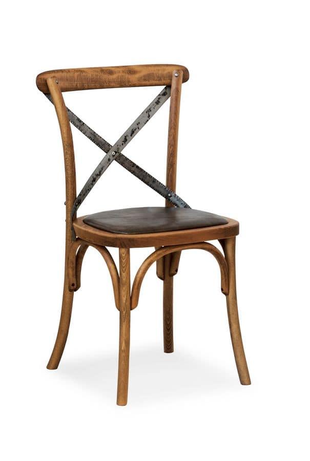 Sedia in legno massello di faggio, seduta in ecopelle | IDFdesign