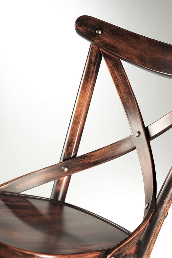 Croce, Sedie in legno senza braccioli, per ristorante e bar