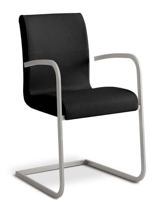 Sedia visitatore in vera pelle per uffici e sale d for Sedie ufficio design outlet